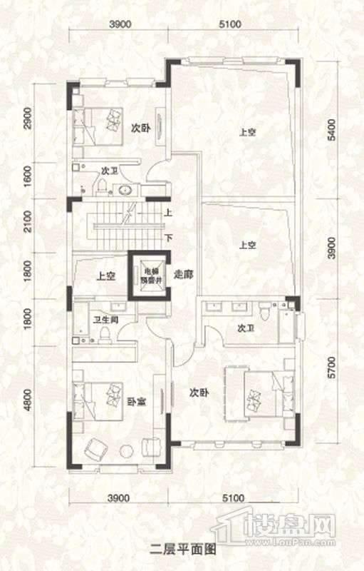 双拼别墅A1户型二层户型图