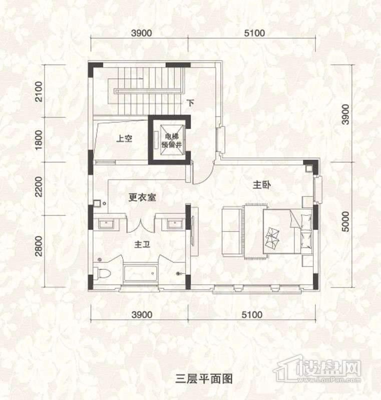 双拼别墅A1户型三层户型图