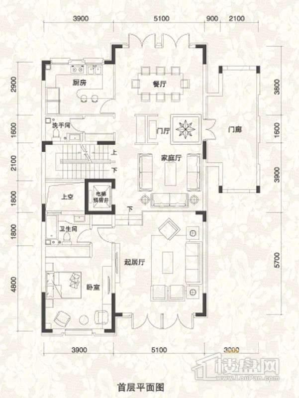 双拼别墅A1户型首层户型图
