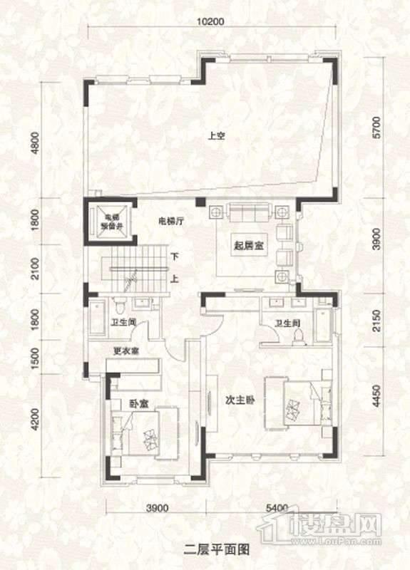 双拼别墅B1户型三层户型图