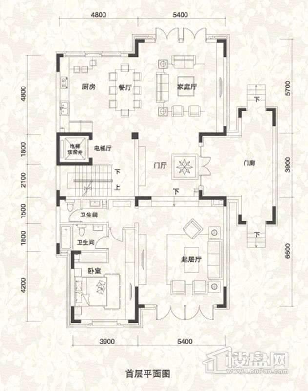 双拼别墅B1户型首层户型图