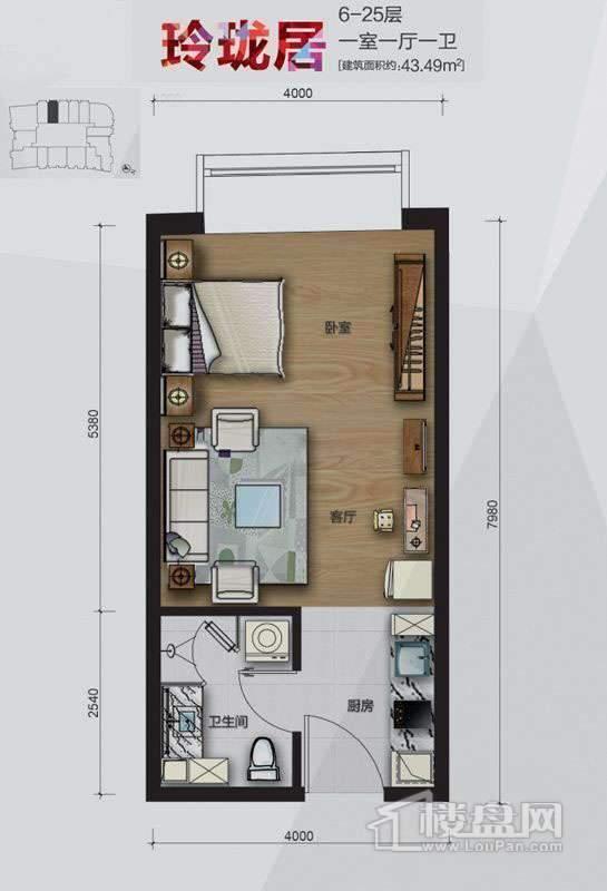 大悦公寓2号楼6-25层玲珑居06户型1室1厅1卫1厨