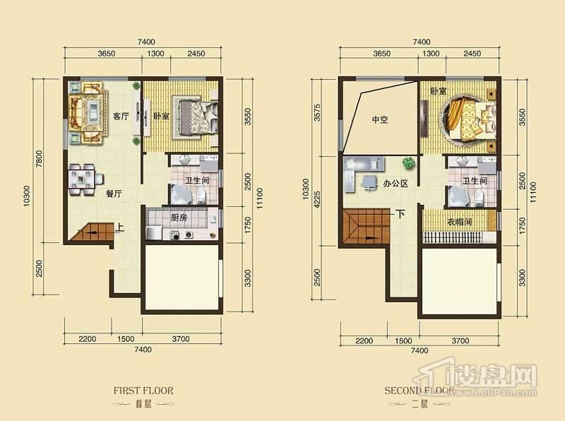 3号楼标准层L10户型1室2厅1卫