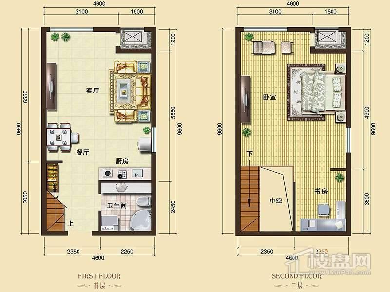 3号楼标准层L9户型1室2厅1卫