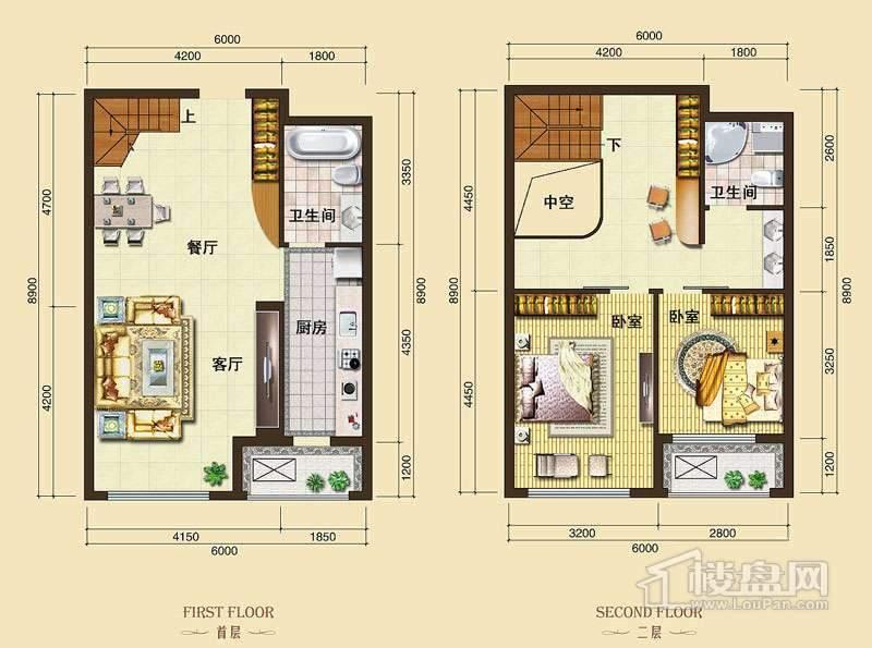 3号楼标准层L6户型2室2厅2卫