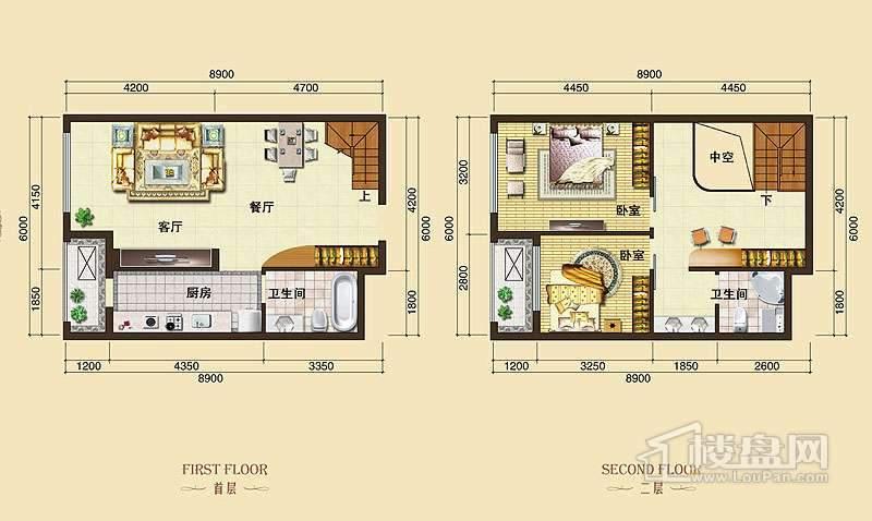 3号楼标准层L3户型2室2厅2卫