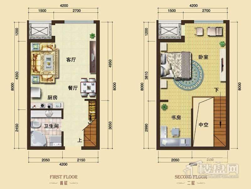 3号楼13-24层L10户型1室2厅1卫1厨