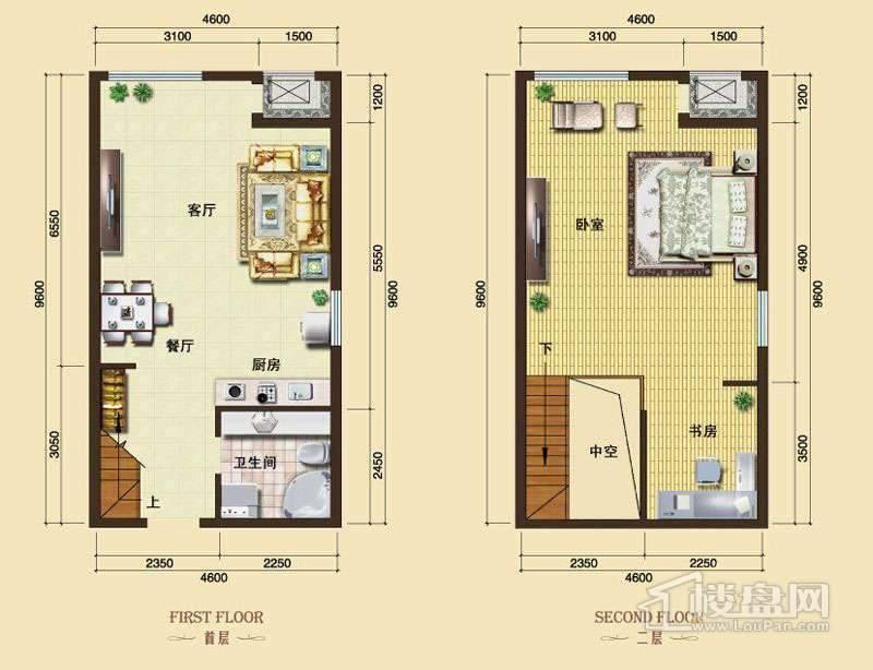3号楼13-24层L9户型1室2厅1卫1厨