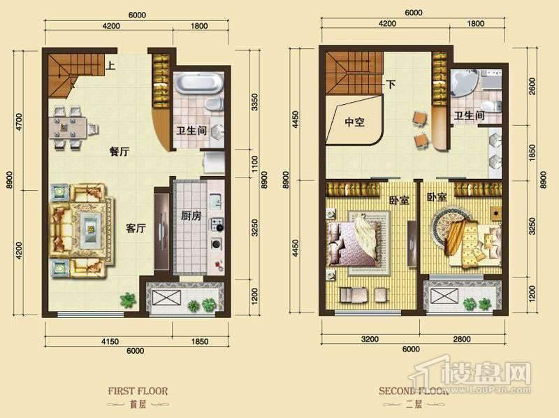 3号楼13-24层L6户型2室2厅2卫1厨