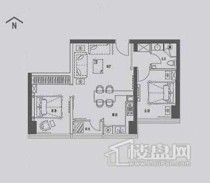 丽晶馆标准层A3户型2室1厅1卫