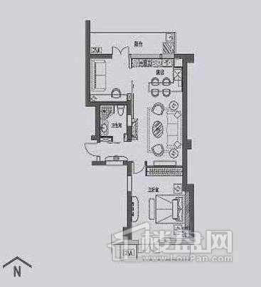 丽晶馆标准层A4户型2室1厅1卫