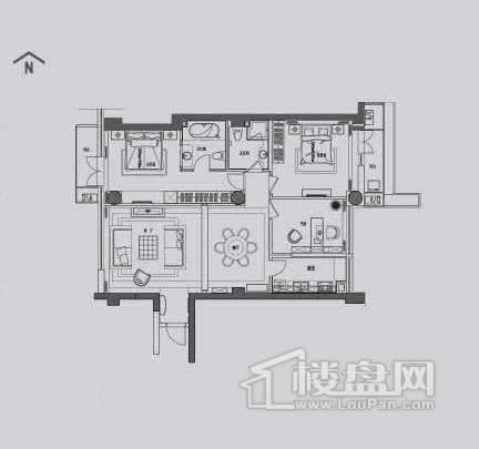 丽晶馆标准层B1户型3室2厅2卫