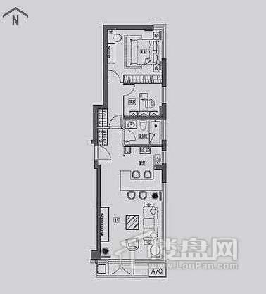 丽晶馆标准层B3户型2室2厅1卫