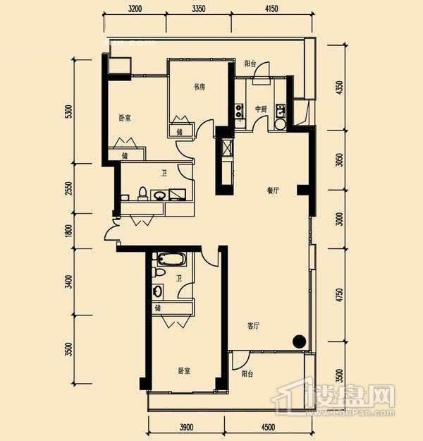 10#23层03单元3室2厅2卫1厨