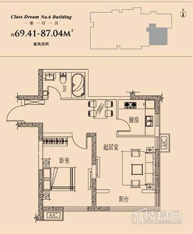 6号楼标准层一室户型1室1厅1卫