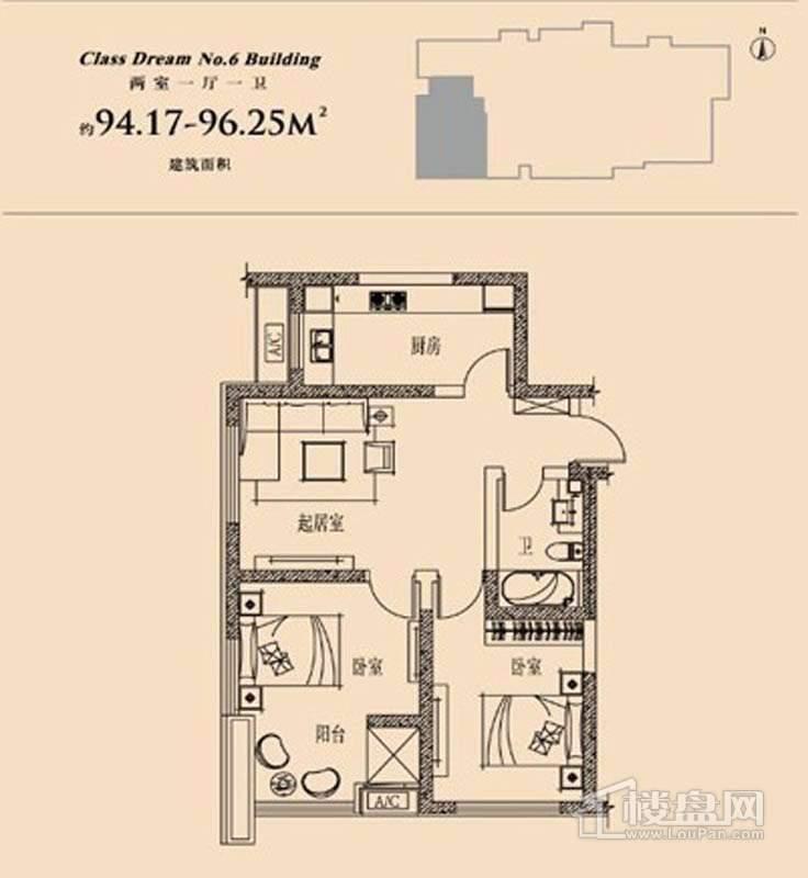 6号楼标准层两室户型2室1厅1卫