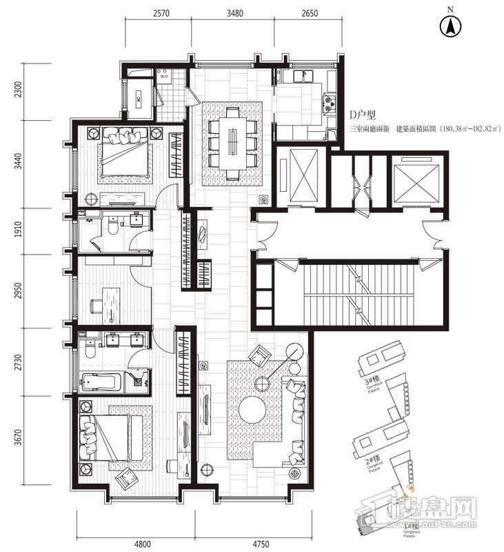 一期高层1号楼标准层D户型