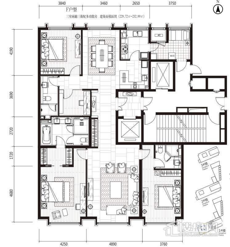 一期高层1号楼标准层F户型