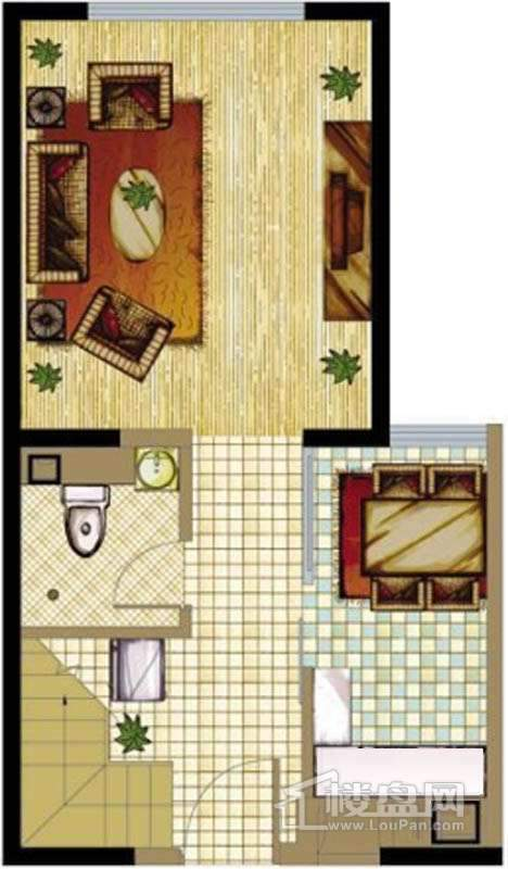 A座标准层A1户型1室1厅1卫1厨 50.19㎡