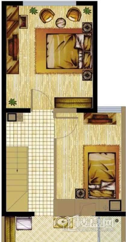 A座标准层A2户型2室1厅1卫1厨 50.19㎡