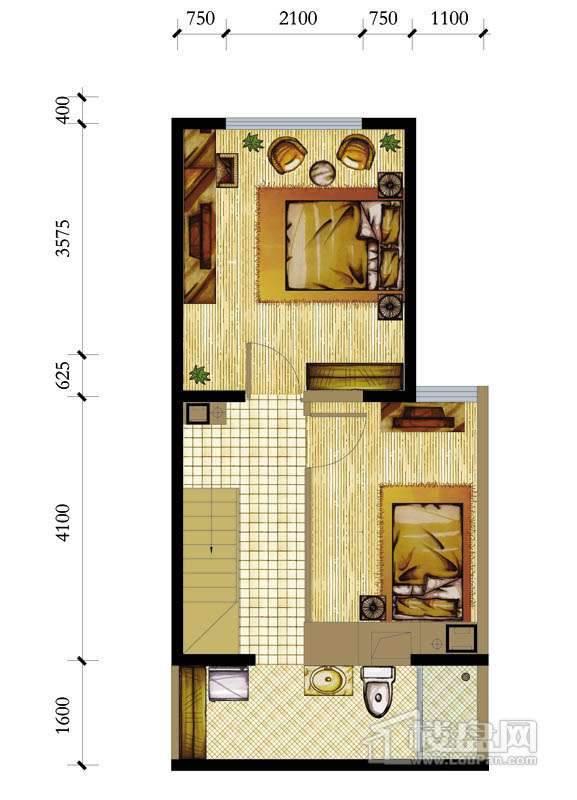 A座标准层A-2户型2室1厅1卫1厨 50.19㎡