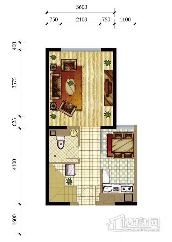 A座标准层A户型1室1厅1卫1厨 50.19㎡