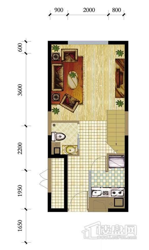 A座标准层b1-1户型1室1厅1卫1厨 43.21㎡