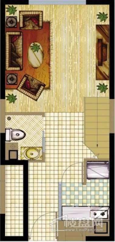 A座标准层B1户型1室1厅1卫1厨 43.21㎡