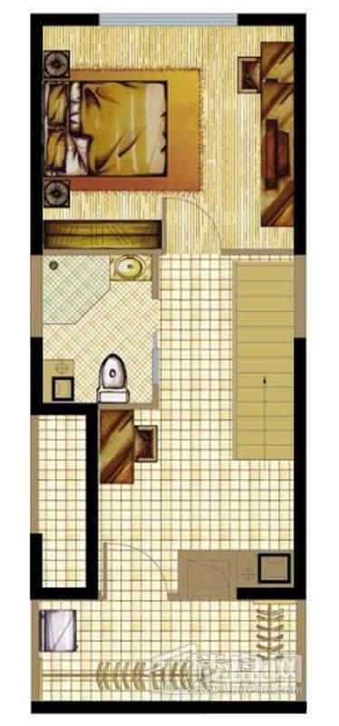A座标准层B2户型1室1厅1卫1厨 43.21㎡户型图