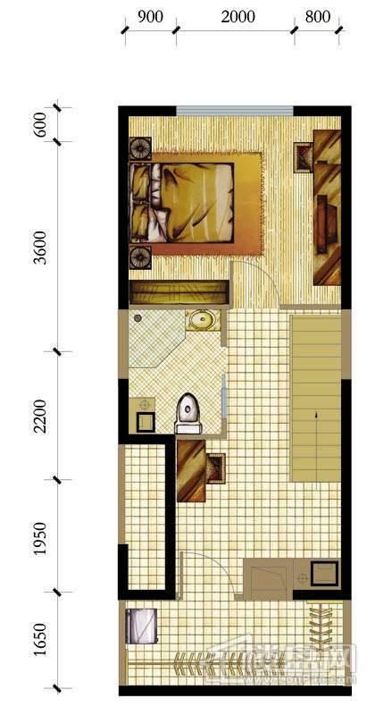 A座标准层B-C-2户型2室1厅1卫1厨 47.53㎡