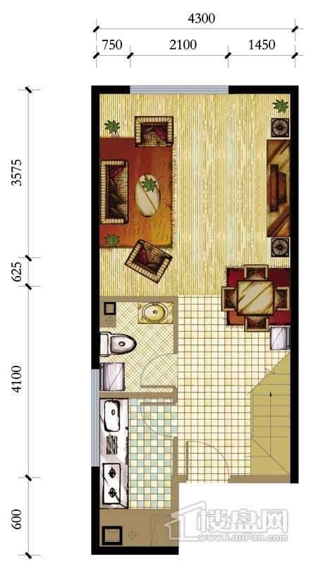 A座标准层D户型1室1厅1卫1厨 59.30㎡