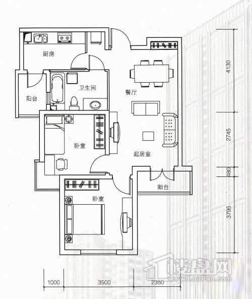 1号楼标准层05户型2室2厅1卫 89.02㎡