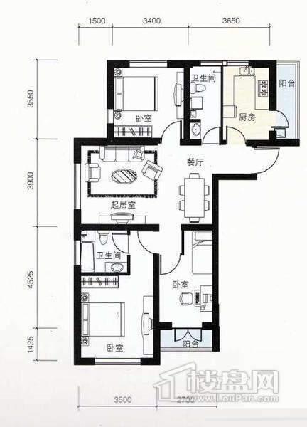 4号楼标准层01户型3室2厅2卫 122.81㎡
