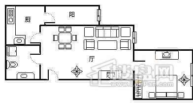 户型图1室1厅1卫1厨2