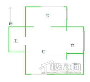 户型图1室1厅1卫1厨 3