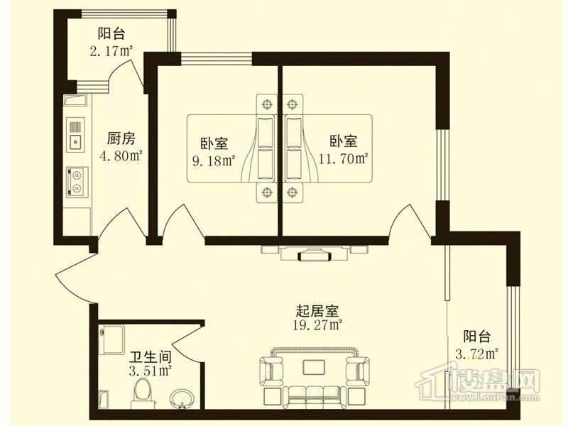 香悦蓝天下A户型2室1厅1卫1厨
