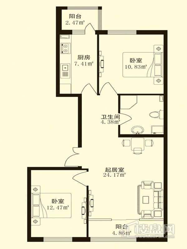 香悦蓝天下D-2户型2室1厅1卫1厨