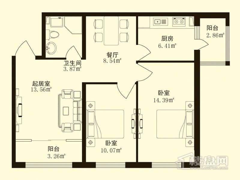 香悦蓝天下C户型2室2厅1卫1厨