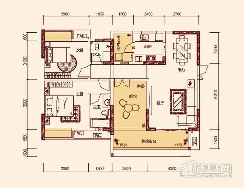 一期3号楼标准层3号户型