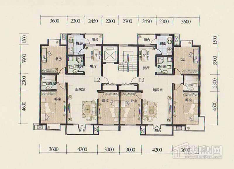 二期1-3号楼标准层L1、L2户型图