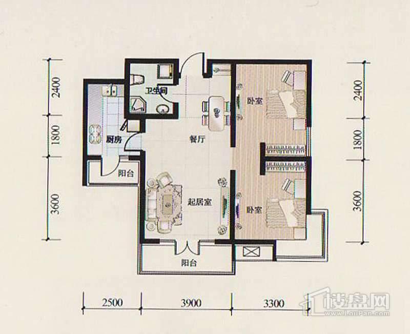 二期14-15号楼标准层Q4户型图