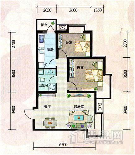 一期1号楼标准层B2户型图