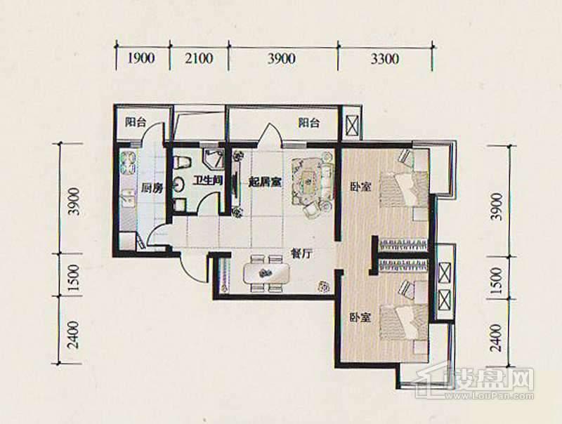 14-15号楼标准层Q1户型图