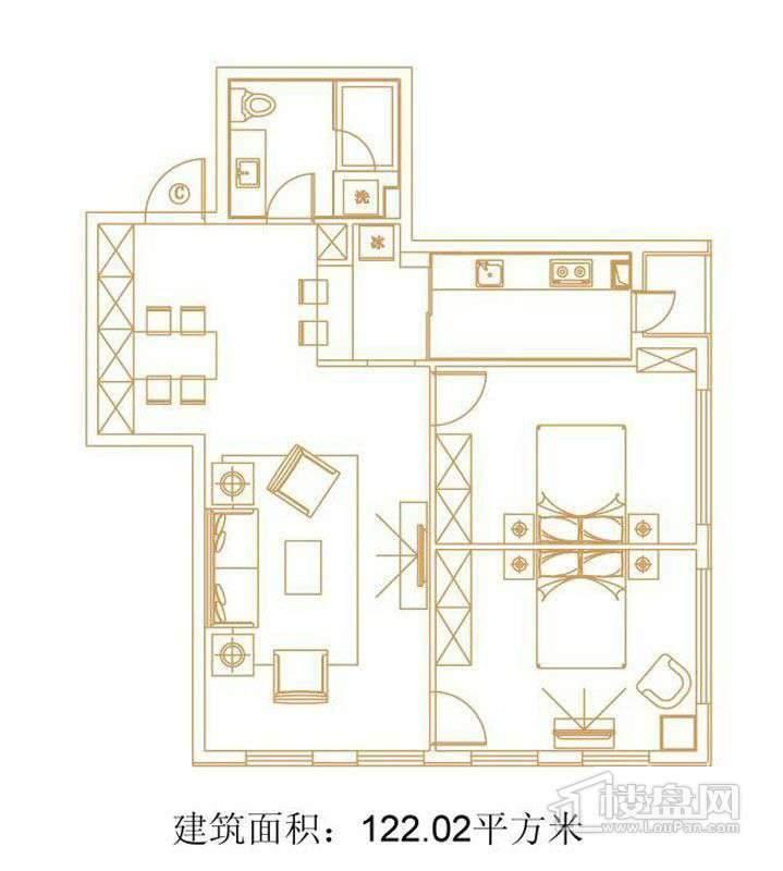 1号楼标准层C户型2室2厅1卫1厨