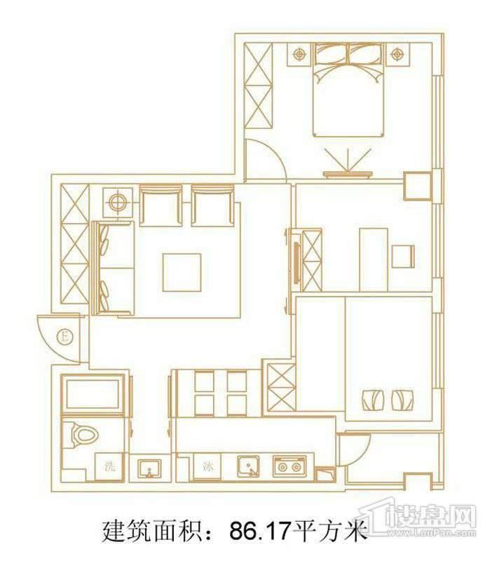 1号楼标准层E户型