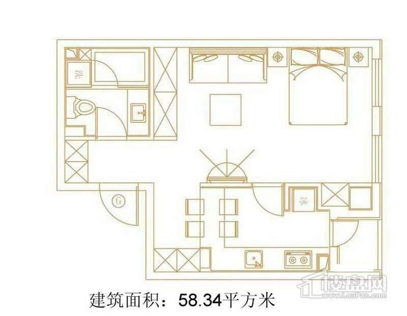 1号楼标准层G户型