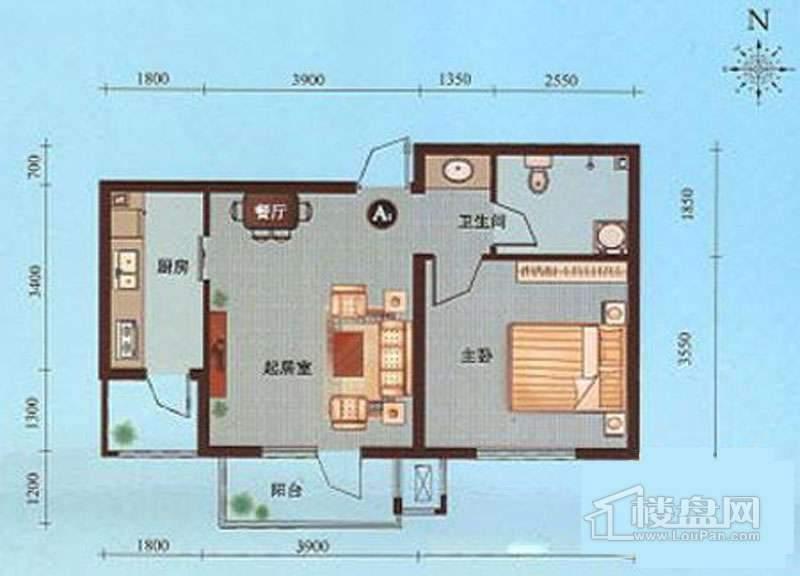 一期1-10号楼标准层A1户型图1室