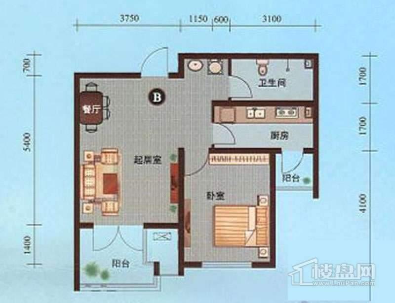 一期1-10号楼标准层B户型