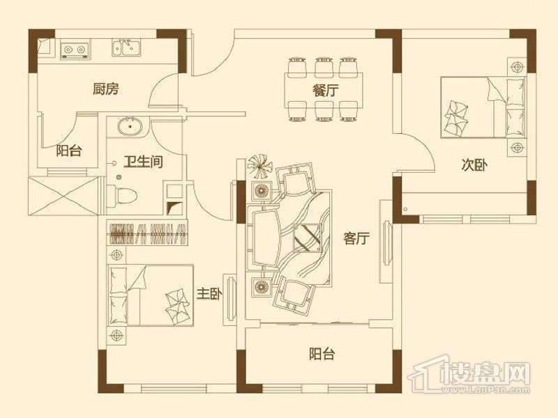 一期6层花园洋房85平米户型图