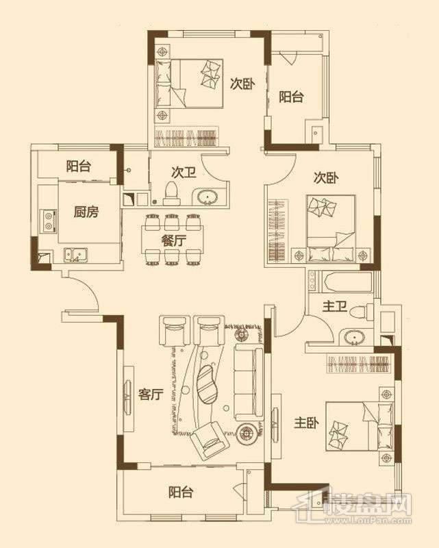 一期6层花园洋房120平米户型图